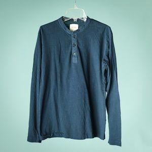 Billy Reid M Henley Button Front Cotton Shirt